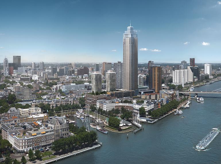 Zalmhaventoren met skyline in Rotterdam